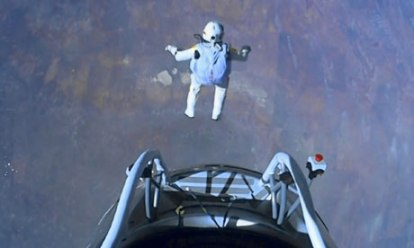 This Leap in October 2012 is from 24 miles above the Earth, The edge of Space, the highest that Man has achieved.